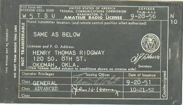 Image of W5TSU License 1952